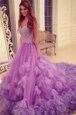 Best Selling Lavender Backless Prom Gown Beading and Hand Made Flower Sleeveless With Train Court Train