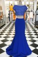 Royal Blue A-line Beading Prom Party Dress Zipper Elastic Woven Satin Short Sleeves With Train