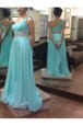 One Shoulder Floor Length Baby Blue Evening Dress Chiffon Sleeveless Beading and Sashes|ribbons