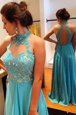 Lovely Blue V-neck Neckline Lace Prom Party Dress Sleeveless Backless