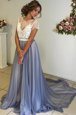 Fancy Scoop Grey Cap Sleeves Court Train Lace and Bowknot Evening Dress