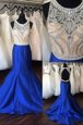 Hot Selling Mermaid Scoop Beading Celebrity Dresses Royal Blue Backless Sleeveless Sweep Train