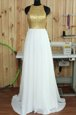 Exceptional White High-neck Neckline Lace Prom Evening Gown Sleeveless Backless