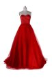 Luxury Red Sleeveless With Train Ruching Zipper Prom Dress