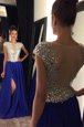 Royal Blue Chiffon Side Zipper Bateau Sleeveless Prom Evening Gown Sweep Train Beading