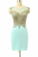 Chiffon Bateau Sleeveless Side Zipper Lace Prom Gown in Turquoise