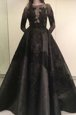Gorgeous Black Bateau Neckline Beading and Appliques Mother Of The Bride Dress Long Sleeves Zipper