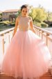 Dynamic Scoop Floor Length Zipper Prom Gown Pink and In for Prom and Party with Beading