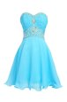 Sweetheart Sleeveless Chiffon Dress for Prom Beading Lace Up