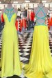 Elegant With Train Yellow Prom Dress Scoop Sleeveless Sweep Train Backless
