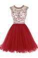 Scoop Mini Length Zipper Prom Party Dress Wine Red and In for Prom and Party with Beading