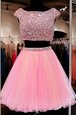 Shining Bateau Cap Sleeves Prom Party Dress Mini Length Beading Pink Tulle