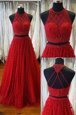 Luxury Scoop Red Sleeveless Sweep Train Beading and Appliques Prom Dress
