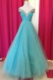 Extravagant Floor Length Blue Prom Party Dress Off The Shoulder Sleeveless Backless