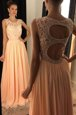 Custom Made Scoop Peach Chiffon Backless Prom Evening Gown Sleeveless Floor Length Beading and Lace