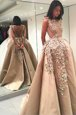 Sophisticated Champagne Bateau Neckline Lace and Appliques Prom Party Dress Sleeveless Backless