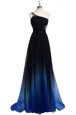 Chic Navy Blue A-line One Shoulder Sleeveless Chiffon Floor Length Criss Cross Beading Mother Of The Bride Dress