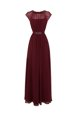 Pretty Burgundy Zipper Scoop Beading Prom Gown Chiffon Cap Sleeves