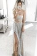Trendy Satin Strapless Sleeveless Sweep Train Lace Up Beading Dress for Prom in Grey