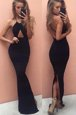 New Arrival Halter Top With Train Black Prom Dress Chiffon Court Train Sleeveless Beading