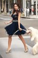 Wonderful Scalloped Navy Blue Cap Sleeves Tulle Zipper for Prom and Party