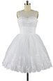 Bateau Sleeveless Prom Party Dress Knee Length Beading and Appliques White Organza