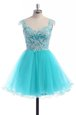 Glittering Knee Length Backless Dress for Prom Aqua Blue and In for Prom and Party with Appliques