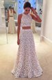 Free and Easy Scoop Sleeveless Zipper Floor Length Lace Dress for Prom