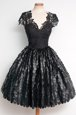Graceful Knee Length Zipper Cocktail Dress Black and In for Prom and Party with Lace