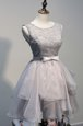 Grey Lace Up Scoop Beading Prom Dress Organza and Lace Sleeveless