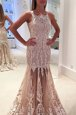 Champagne Mermaid Tulle Scoop Sleeveless Lace and Appliques Zipper Dress for Prom Sweep Train