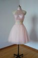 Popular Tulle High-neck Sleeveless Zipper Beading Prom Dress in Pink