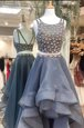 Scoop Sleeveless Organza High Low Zipper Prom Dress in Grey for with Beading