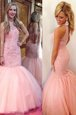 Super Mermaid Scoop Tulle Sleeveless Floor Length Prom Dress and Lace