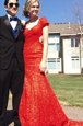 Mermaid Red Prom Dresses Prom and Party and For with Lace V-neck Short Sleeves Sweep Train Backless