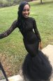 Sweet Mermaid Floor Length Zipper Prom Dresses Black and In for Prom with Lace