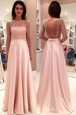 Fantastic Satin Bateau Long Sleeves Sweep Train Backless Beading Dress for Prom in Pink