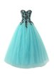 Aqua Blue Sleeveless Floor Length Appliques Lace Up Evening Dress
