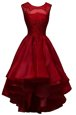 Free and Easy A-line Red Carpet Prom Dress Wine Red Bateau Organza Sleeveless High Low Zipper