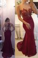 Mermaid Scoop Lace Zipper Dress for Prom Burgundy and In for Prom and Party with Beading and Appliques Sweep Train
