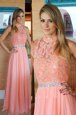 Pink Sleeveless Chiffon Zipper Prom Dresses for Prom and Party
