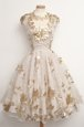 Tea Length Zipper Evening Dress Champagne and In for Prom and Party with Appliques