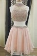 Traditional Halter Top Sleeveless Knee Length Beading Zipper Cocktail Dress with Peach