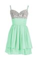 Noble Beading and Ruching Cocktail Dress Apple Green Zipper Sleeveless Mini Length
