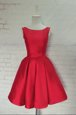 Red A-line Bowknot Homecoming Dress Backless Satin Sleeveless Knee Length