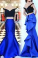 Royal Blue Mermaid Off The Shoulder Short Sleeves Satin With Train Sweep Train Zipper Ruffles Homecoming Dress