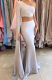 Stunning Mermaid One Shoulder Silver Long Sleeves Elastic Woven Satin Side Zipper Homecoming Dress for Prom