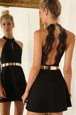 Suitable Halter Top Belt Black Backless Sleeveless Mini Length