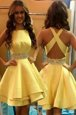 Scoop Sleeveless Knee Length Beading Criss Cross Dress for Prom with Yellow