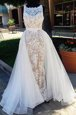 Superior Scoop Champagne Dress for Prom Tulle Brush Train Sleeveless Lace
